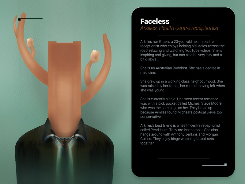 Faceless A2 gimp sci-fi character 2d