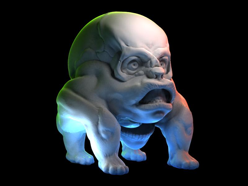 Monkey skull render skull dog monkey 3d