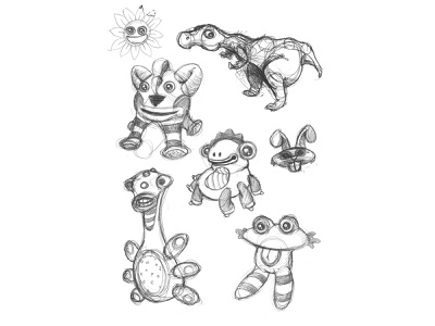 Plushies puppet toy concept pencil sketch plushie