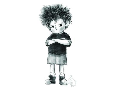 Grumpy Boy B&W Character Design