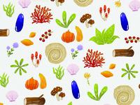 Foliage And Fungi Surface Pattern Illustration