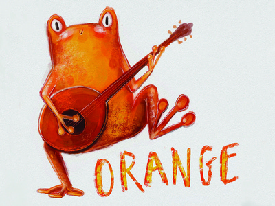 Orange Frog Dancing Banjo Character Design