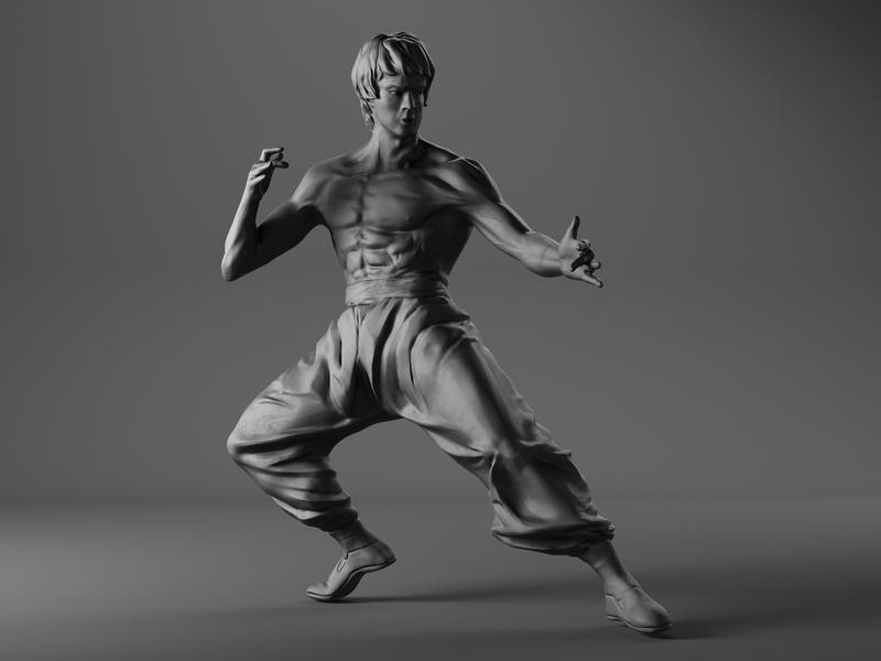 Bruce Lee Pose cgi pose branding illustration 3d art bruce lee