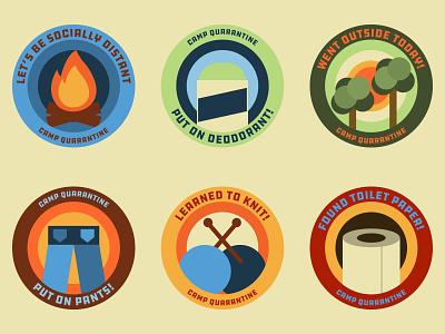 Camp Quarantine Badges icon logo badge typography vector meritbadge quarantine illustration graphicdesign design badgedesign