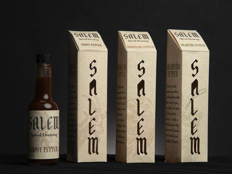 Salem Spiced Dressing lettering blackletter typography vector etching design witches salem illustraion logo label hot sauce packaging branding
