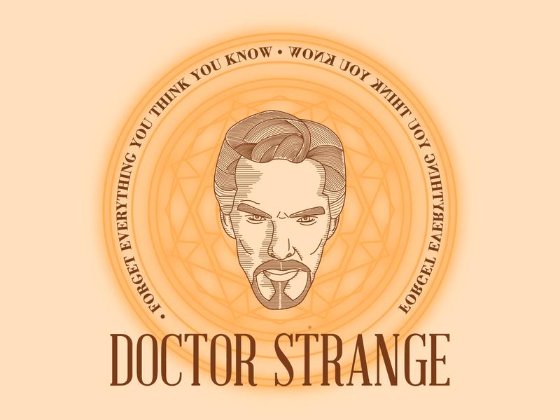 Doctor Strange vector typography superhero portrait marvel logo linework illustration icon graphicdesign etching design doctorstrange badgedesign badge