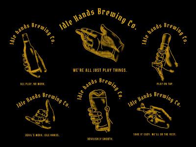 Idle Hands Brewing Co. brewing hands branddesigner brandidentity branddesign brand branding procreate ipadproart ipadpro illustration vector icon graphicdesign typography design badgelogo logo badgedesign badge