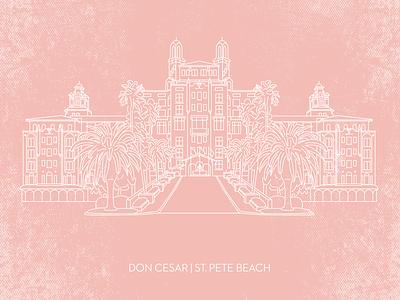 Don Cesar, St. Pete Beach, FL linework hotel pink florida beach monoweight graphicdesign design illustration