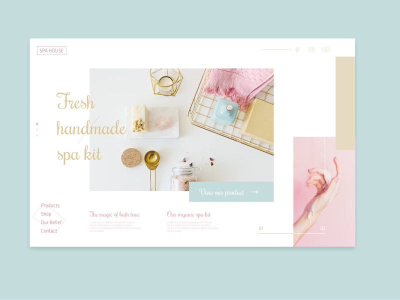 Spa House pastel ui web design custom design ux ui design web design uidesign