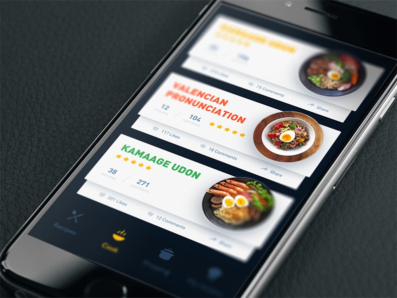 Japanese cooking udon vegetables button style menu icon dark card interface ui app food
