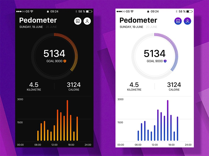 Pedometer for Flyme Map move record sport health flyme map pedometer ui app interface card