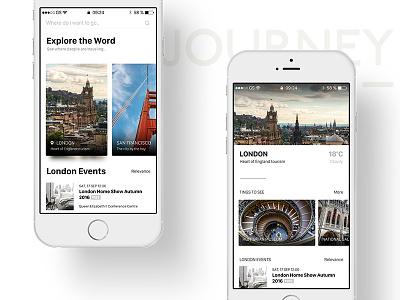 Journey list card mobile icon feed ui ios ios10 clean app journey travel