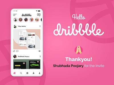 Hello Dribbble debutshot debute debut art lettering ui ux thanks shot dribbble flat app illustration typography branding