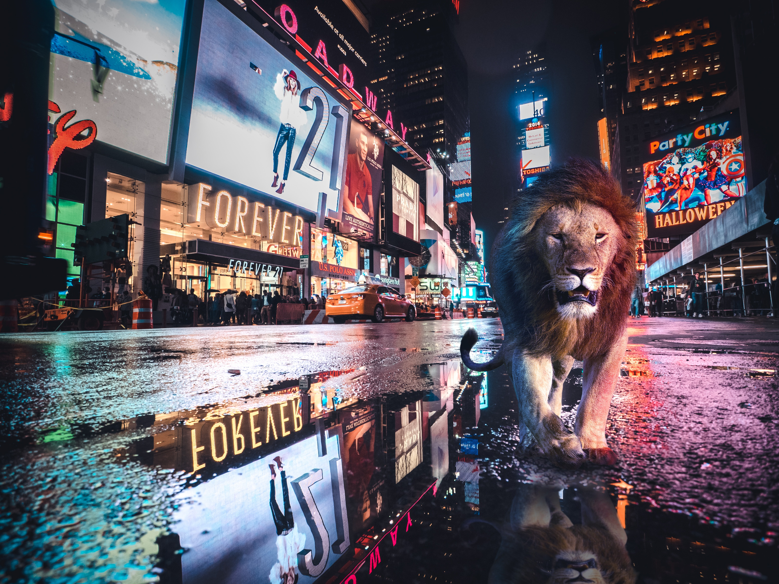 20190313 lion on times square