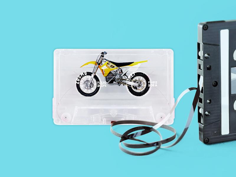 Cassette wheels 🏍  photo manipulation aqua unravel unwind bright blue music tape cassette motorbike bike manipulation photoshop