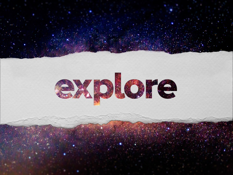 explore motivational brand design typographic typography torn paper paper space galaxy field blur ferns dof depth of field branding