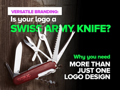 Is your logo a swiss army knife? fluoro advertising swiss army knife knife brand versatility brand variety logo brand design versatile versatility logo design branding
