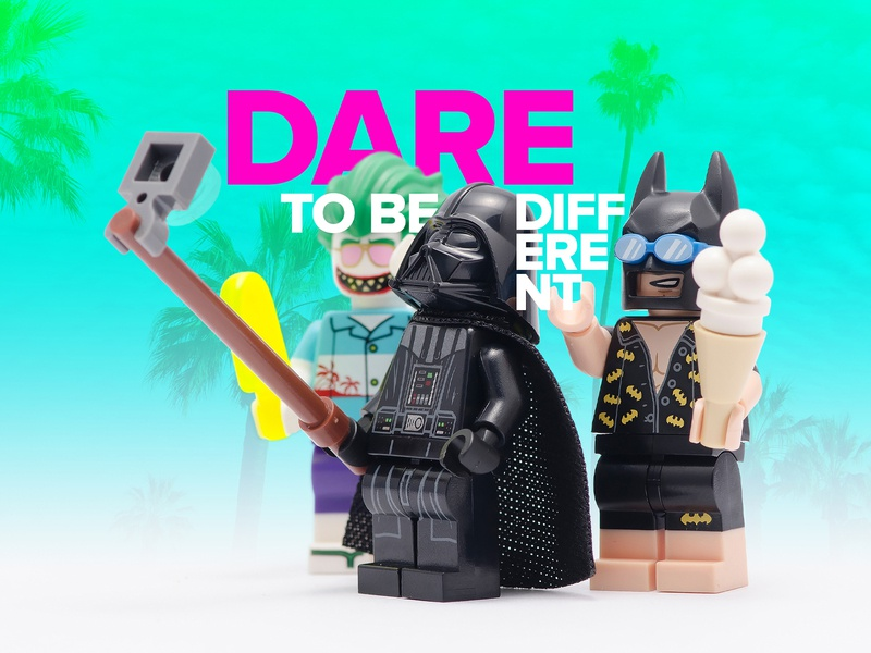 Dare To Be Different ice cream humour humor selfie green blue magenta aqua losangeles palm trees tropical joker batman star wars darth vader different