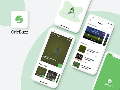 CricBuzz logo live video bowling batting cricket illustration minimal icon design ux ui