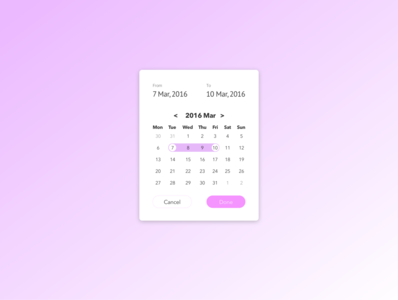 Daily UI practice - 080 Date picker