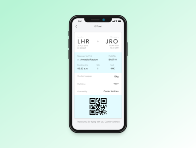 Daily UI practice - 024 Boarding pass