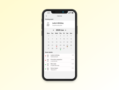 Daily UI practice - 038 Calendar