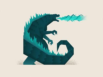 Godzilla graphicdesign godzilla flat minimal vector illustration design character