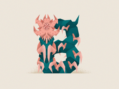 Monstography - B illustrator typogaphy typeface type font vector minimal illustration design character