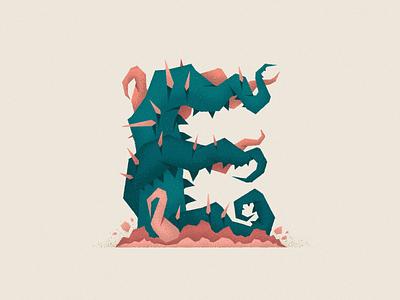 Monstography - E 36daysoftype minimal flat illustrator vector typography typeface type illustration character
