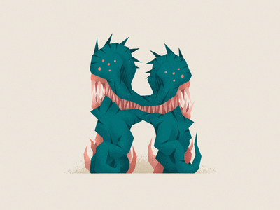 Monstography - H minimal monster vector illustration character font 36daysoftype typography typeface type