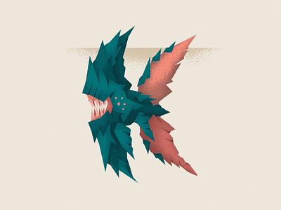 Monstography - K minimal illustrator type design font typography typeface type vector illustration character