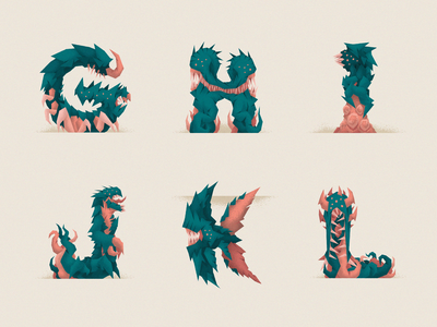 Monstography - Part II minimal monsters collection 36daysoftype type design font type typography typeface illustration character