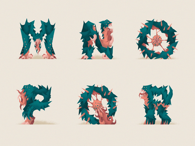 Monstography - Part III lovecraft monsters monster font design typography typeface type vector minimal illustration character