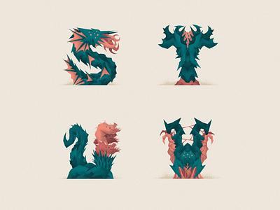 Monstography - Part IV 36daysoftype lovecraft monsters monster type design font design font illustrator graphic design design typography typeface type vector minimal illustration character