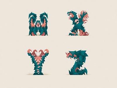 Monstography - Part V illustrator 36daysoftype challenge lovecraft monsters monster design font design font type design typography typeface type vector minimal illustration character