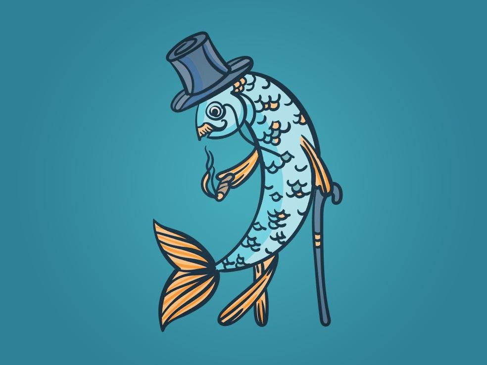 Mr. Fish vector illustration