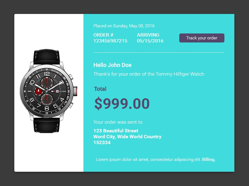 Daily Ui 017 receipt email interface design ui daily 017
