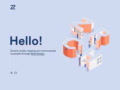 Zurisch Studio - Website branding minimal illustration type typography design app ux vector web design website