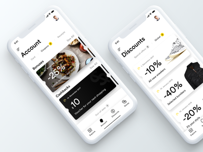 iPhone X - UI concept ios11 iphonex minimal tabs coupon discount account app white black ux ui