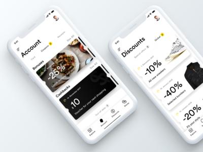 iPhone X - UI concept ios11 iphonex minimal tabs coupon discount account app white black ux ui