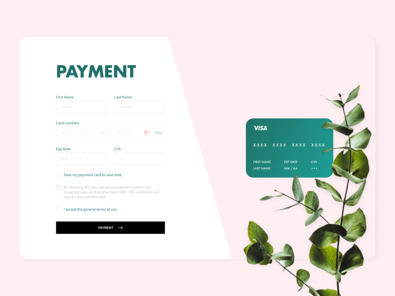 Daily UI #2 figma card pay payment web dailyui typography laptop pink plant branding photoshop ux flat design ui