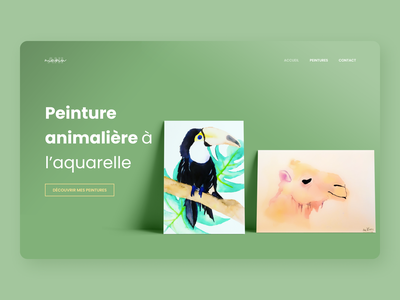 Animanu.fr painting painter uncode wordpress peinture green webdesign website figma ui flat design