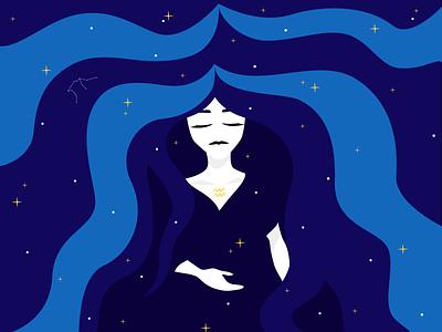 Aquarius astrology stars aquarius universe girl illustration