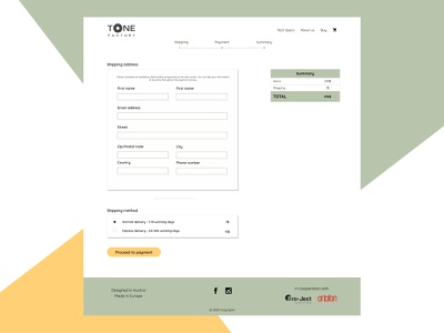 Tone Factory - school project figma shipping website design ui  ux payment form webdesign ui design
