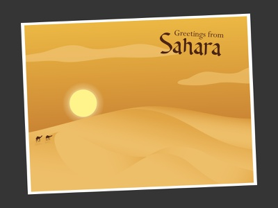Sahara || Postcard Weekly Warm-Up camel postcard sahara desert weekly challenge weekly warm-up illustration