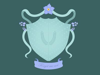 Myosotis crest || Weekly Warm-up dribbbleweeklywarmup crest flowers illustrator illustration