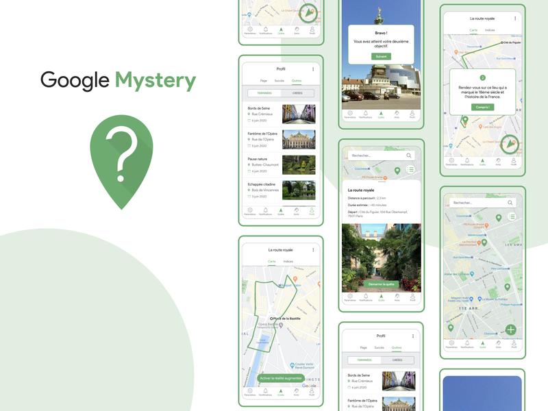 Google Mystery || School project exploration map treasure hunt google mobile app design figma ui  ux