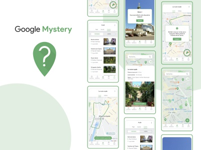 Google Mystery || School project exploration map treasure hunt google mobile app design figma ui  ux