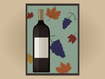 Wine bottle || Poster poster illustration season autumn grapes leaves wine fall