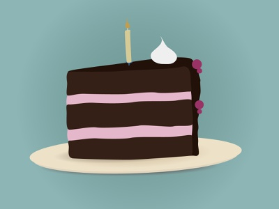 Piece of cake chocolate illustration birthday cake